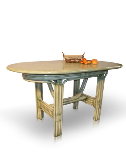 Mobilier en rotin salles manger table isabella for Table a manger rotin